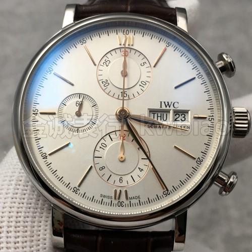 ZF厂万国柏涛菲诺计时腕表,白壳金钉 上海7750机芯