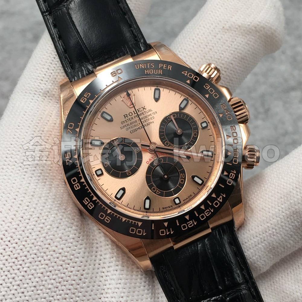 N厂手表迪通拿玫瑰金壳金面皮带 复刻4130机芯