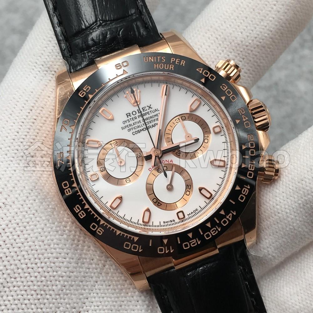 N厂手表迪通拿玫瑰金壳白面皮带 复刻4130机芯