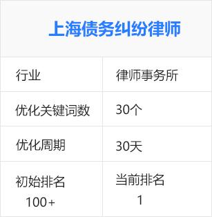 上海律师事务所,债务纠纷律师(律师行业)百度seo优化排名推广案例