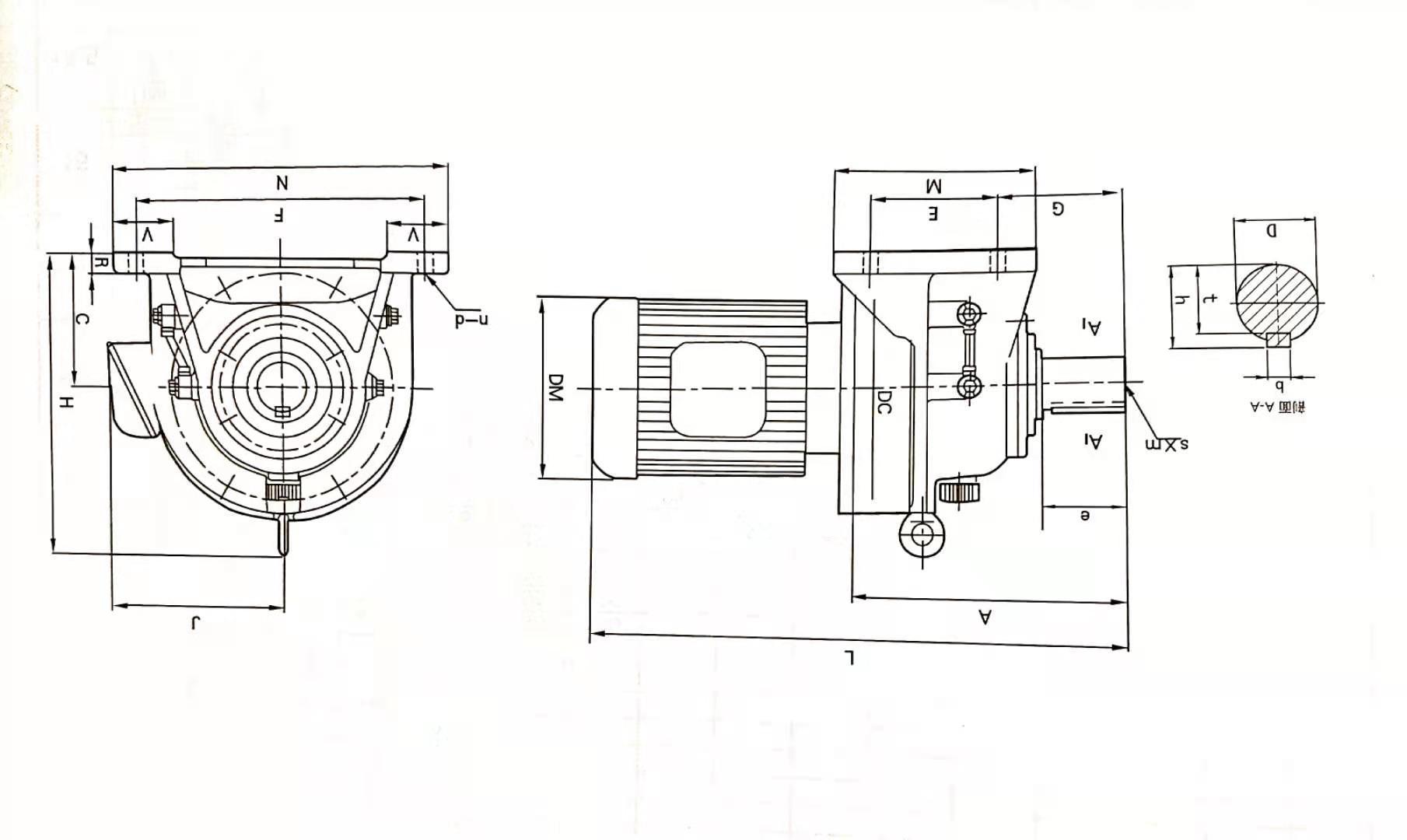 XWD型8160-8265卧式直连型外形安装尺寸图表
