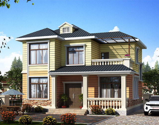 168平4室3挺两层轻钢别墅