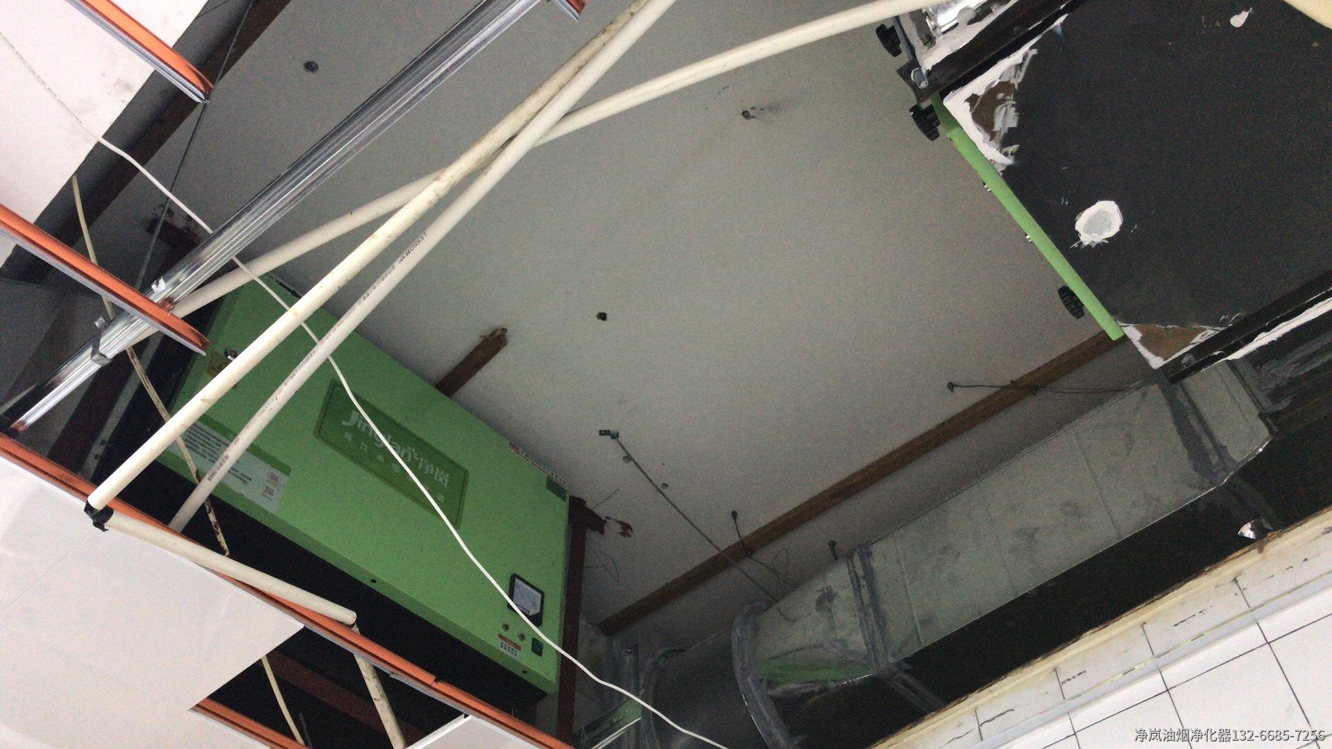 济南聚福林海鲜城6000风量油烟净化器+3组活性炭吸附箱安装案例