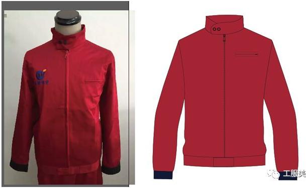 纯红色工装款式图
