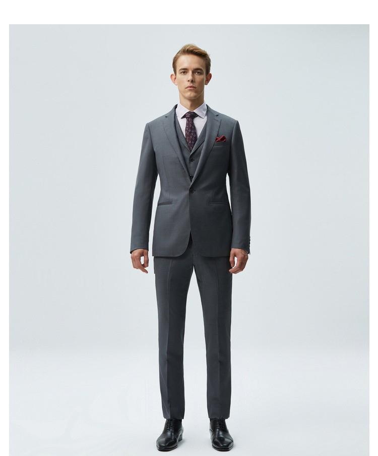 重庆男士灰色平驳领商西服套装定制