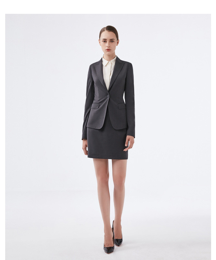 重庆深灰色职业女士西服套装定制