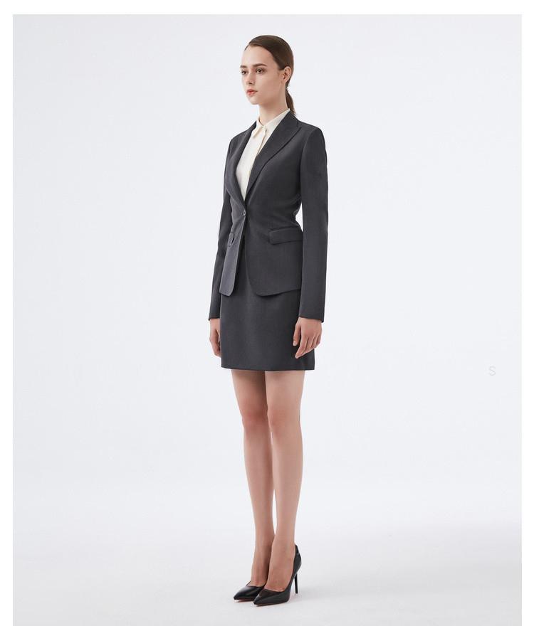 深灰色职业女士西服套装侧面图