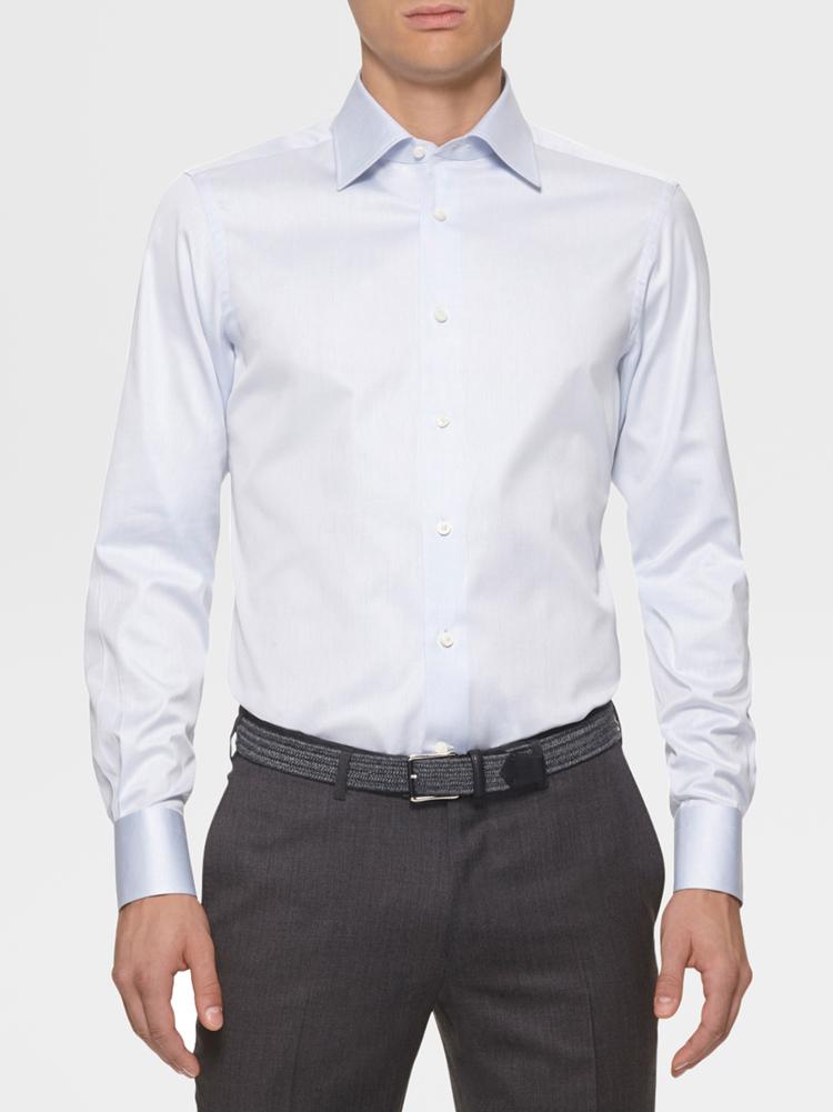 男士蓝色纯棉衬衫正面图