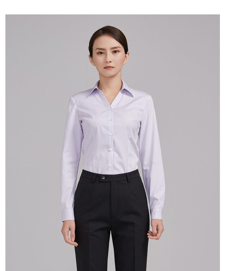重庆女士紫色条纹长袖衬衫定制