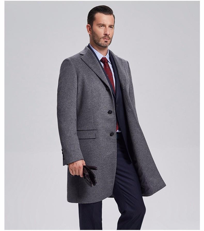 重庆男士灰色羊绒大衣定制