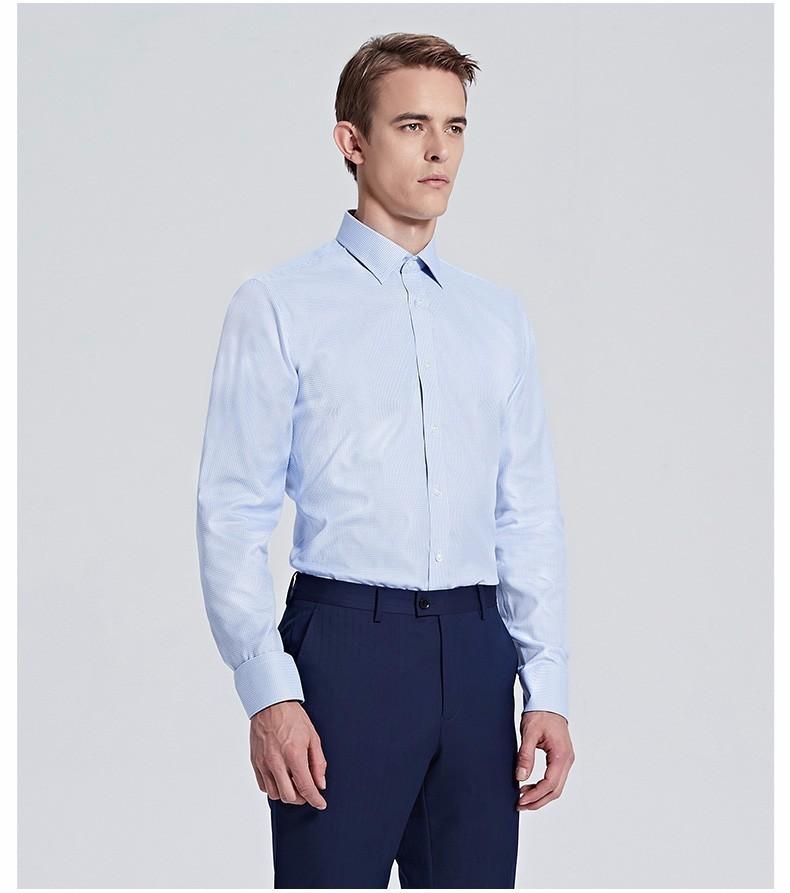 淡蓝色经典商务方领衬衫定制