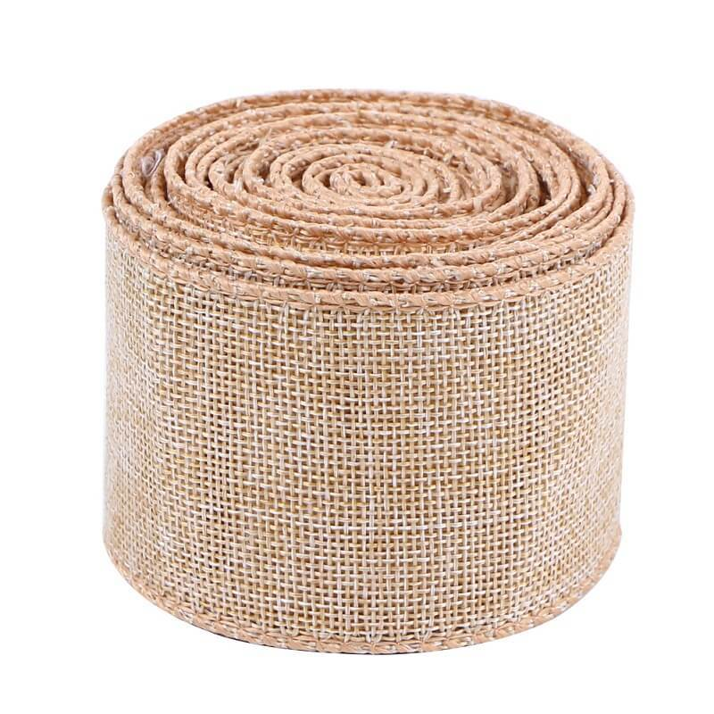 Natural Jute Burlap Ribbon 2.5 inch for Gift Wrapping