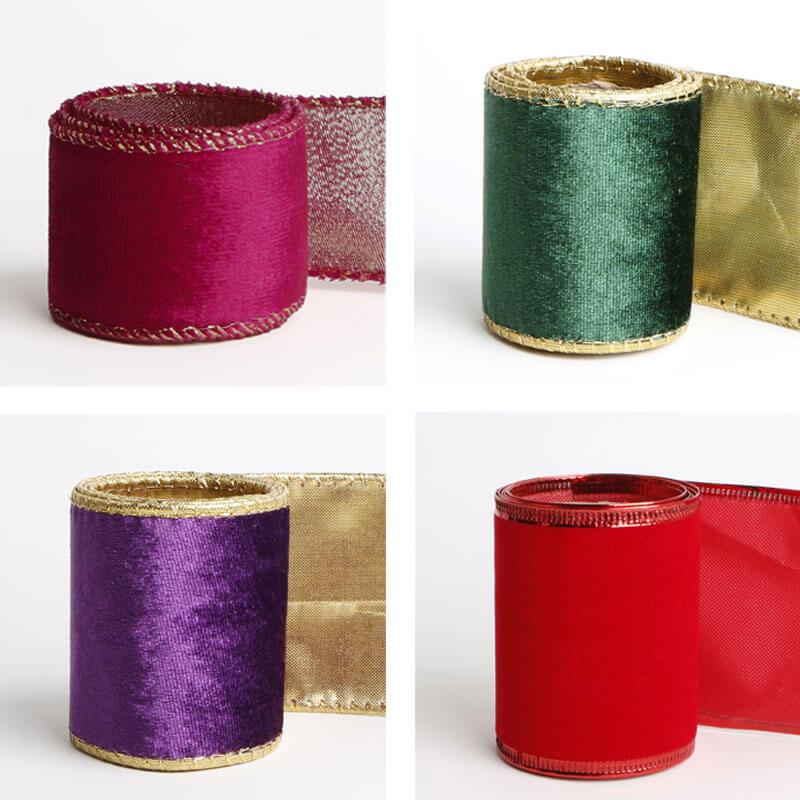 Wire Edge Velvet Ribbon Custom Ribbon for Gift Wrapping