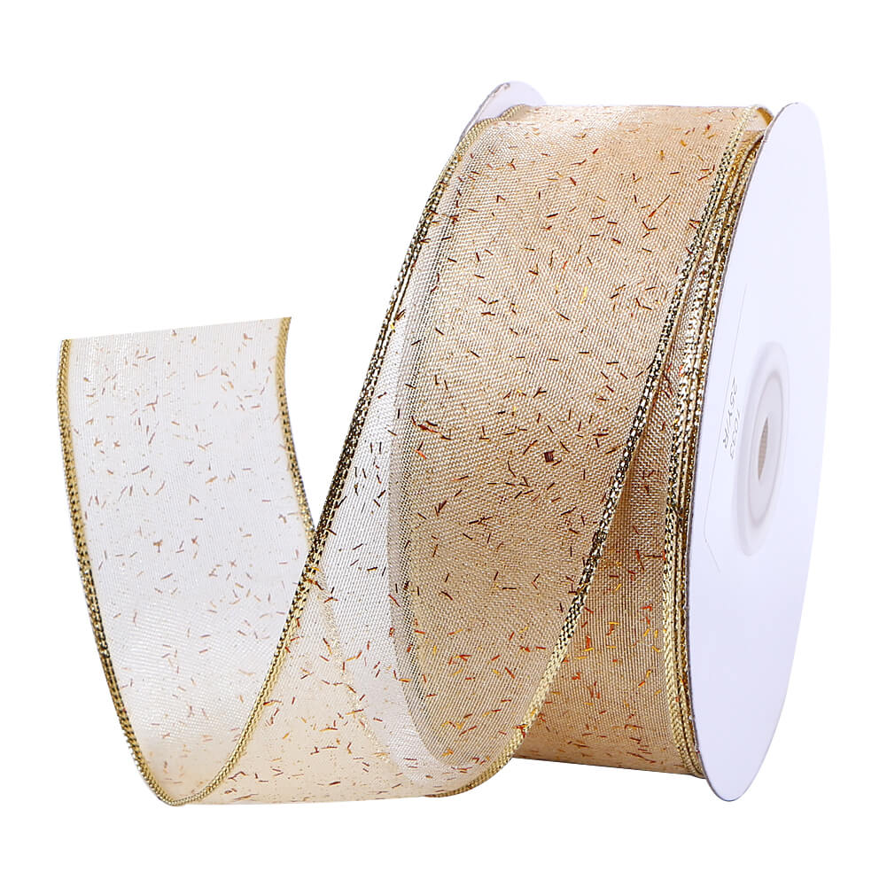 38mm Wire Edged Organza Ribbon Custom Christmas Gift Ribbon