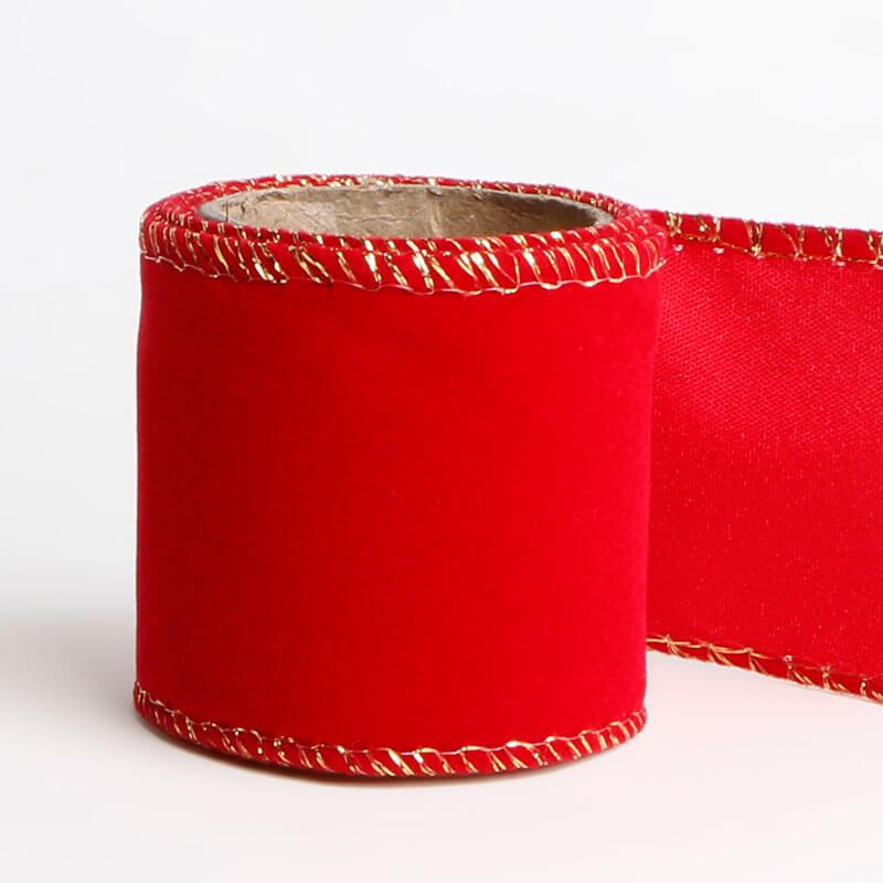 6cm Red Velvet Christmas Ribbon Wired Edge