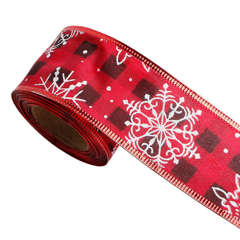 burlap ribbon with red and black plaid