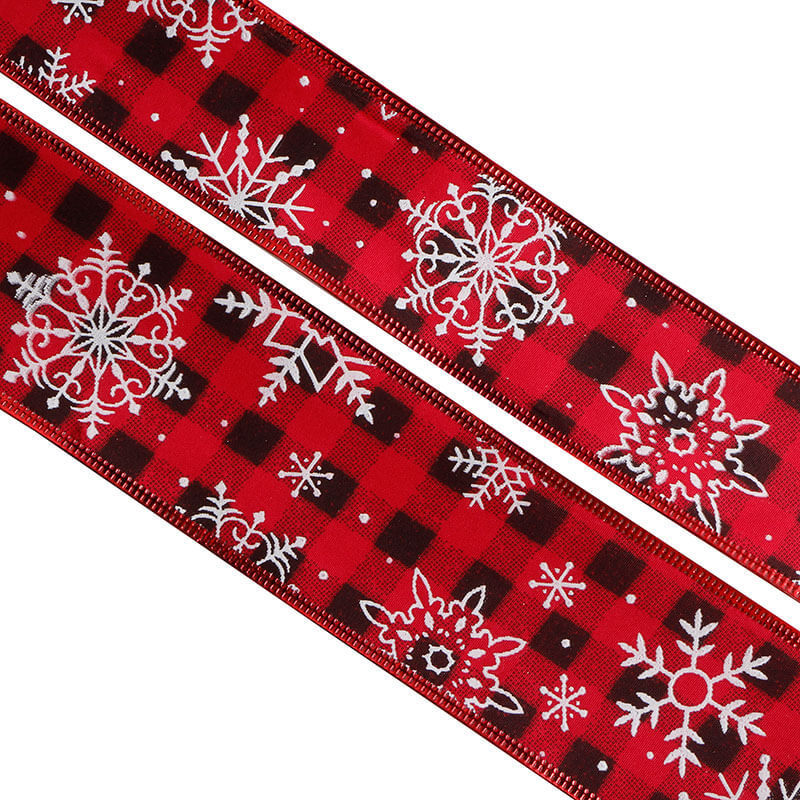 Burlap ribbon with red and black plaid (14)