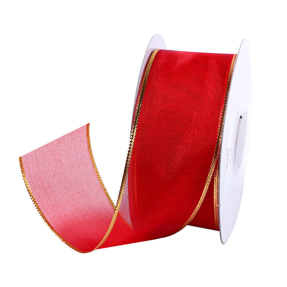 Christmas ribbon with wire 38mm red organza ribbon wire edged