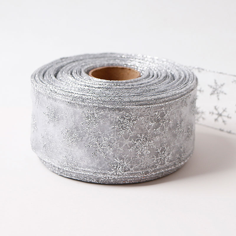 60mm Customized Decoration Christmas Organza Ribbon With Wire