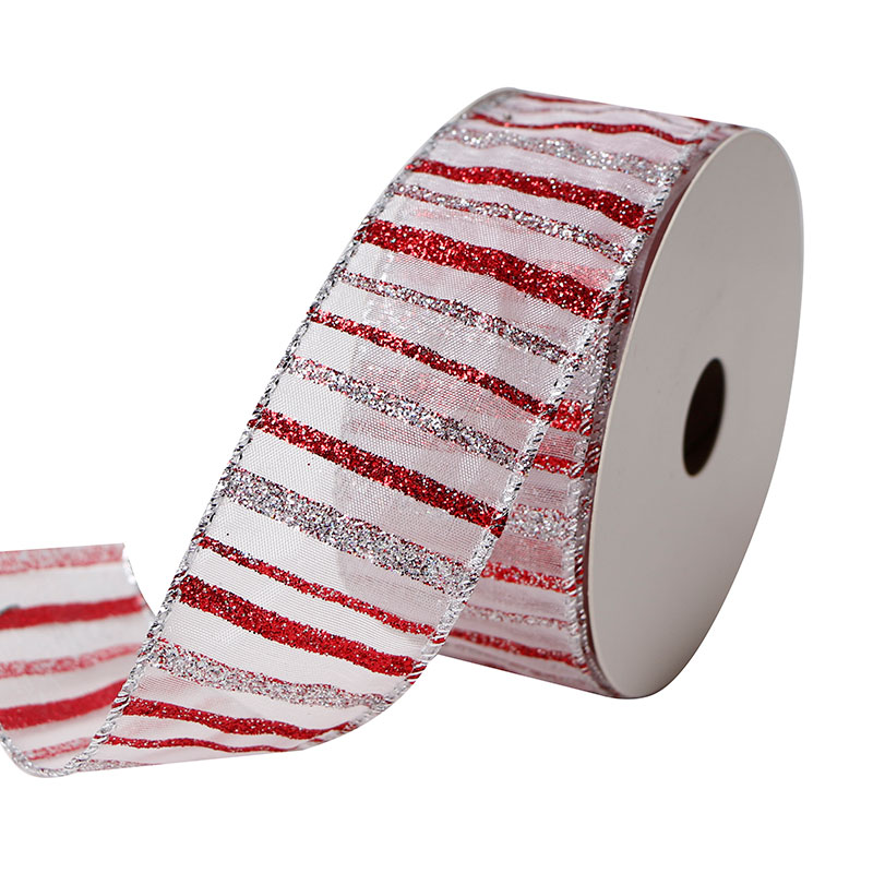 Custom Gift Wrapping Christmas Wired Edge Organza Ribbon