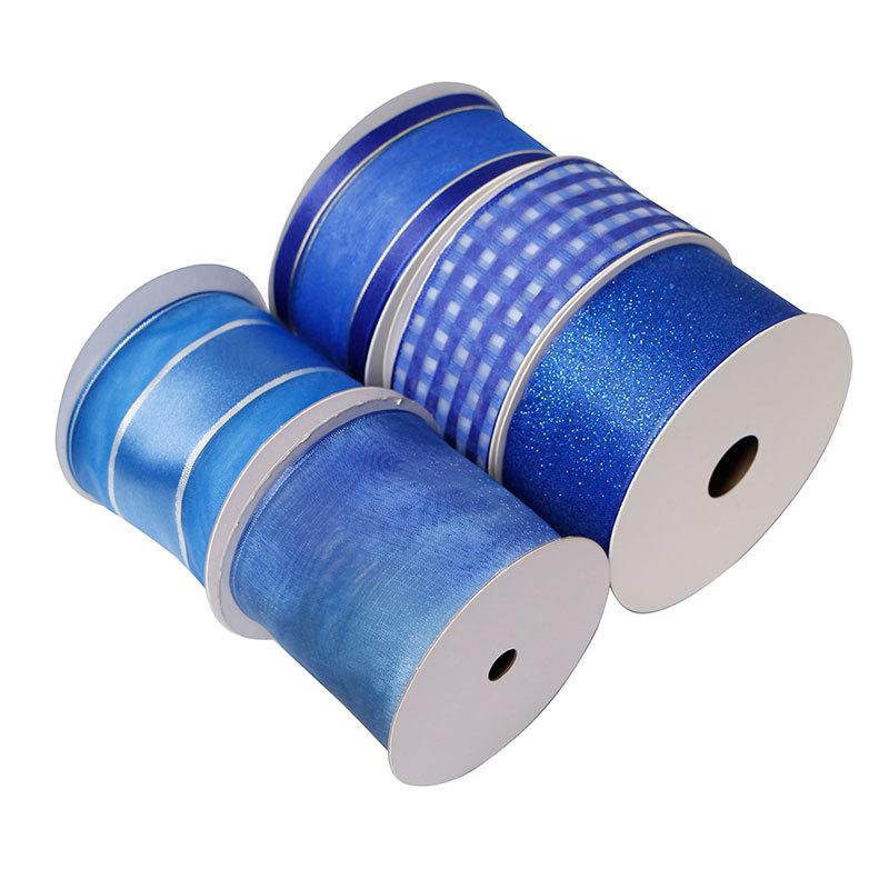 Custom Blue Organza Ribbon Wholesale Christmas Wired Edge Ribbon