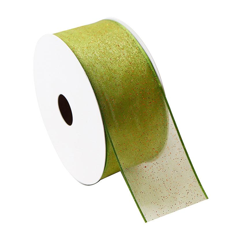 Customized Christmas Glitter Green Organza Ribbon