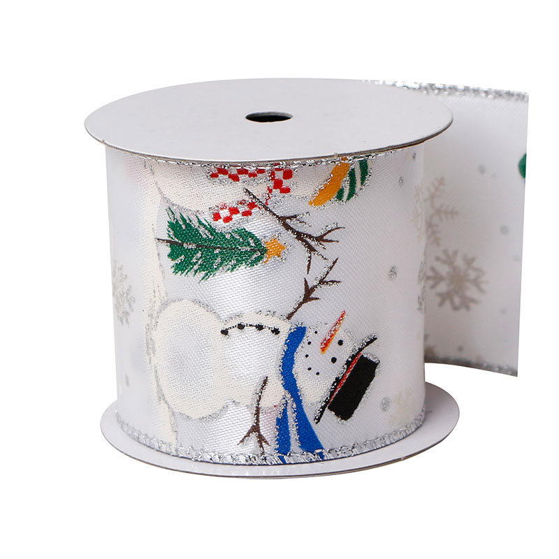 Custom Printed Ribbon Wired Fabric Christmas Ribbon Outdoor Decorations