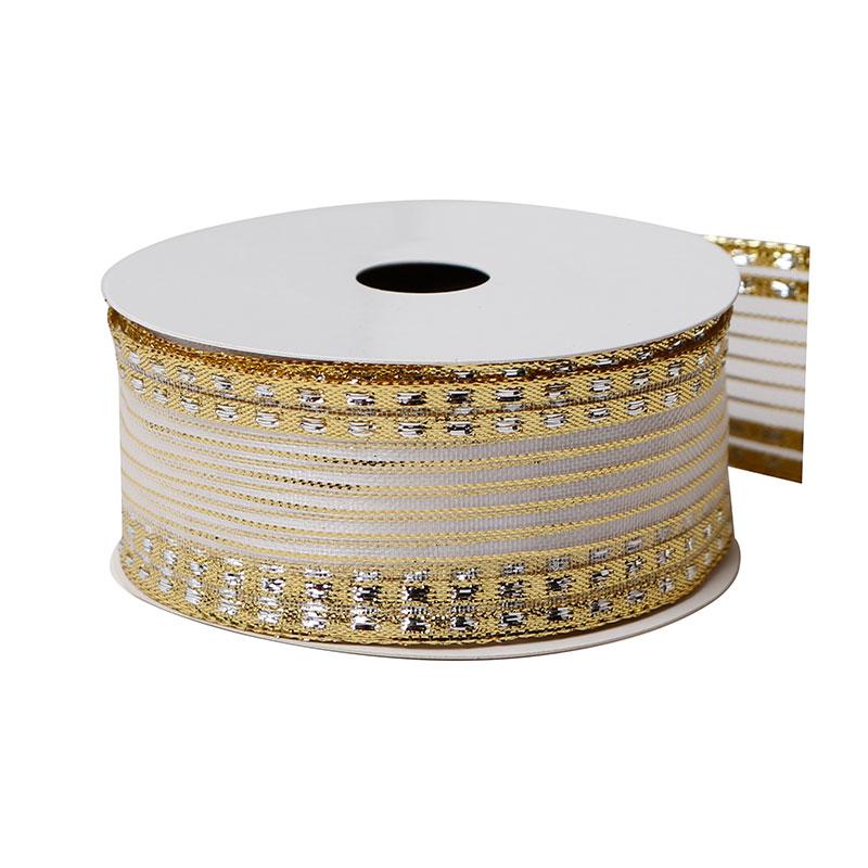 1.5 Inch Gold Organza Ribbon 25 Yards Organza Ribbon for Gift Wrapping