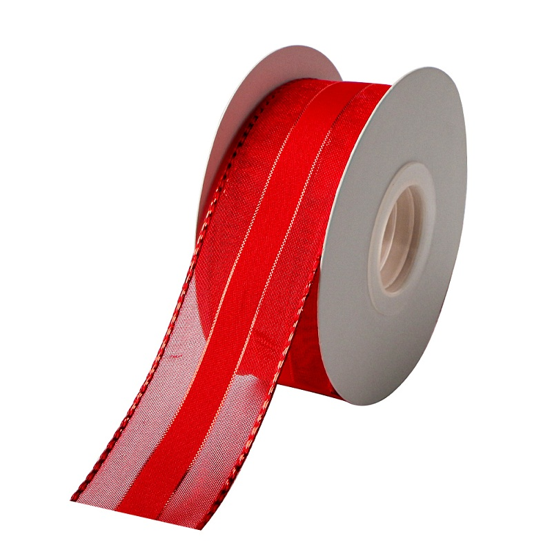 Christmas Ribbon Red Organza Wired Ribbon 1-1/2 inch 25 Yards
