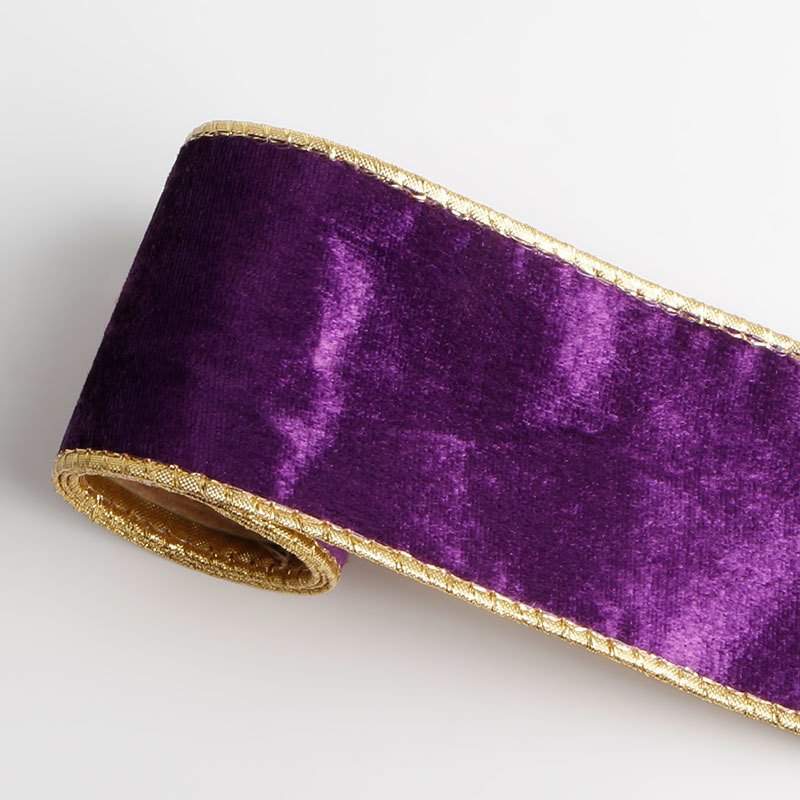 Wire edge purple velvet ribbon (2)