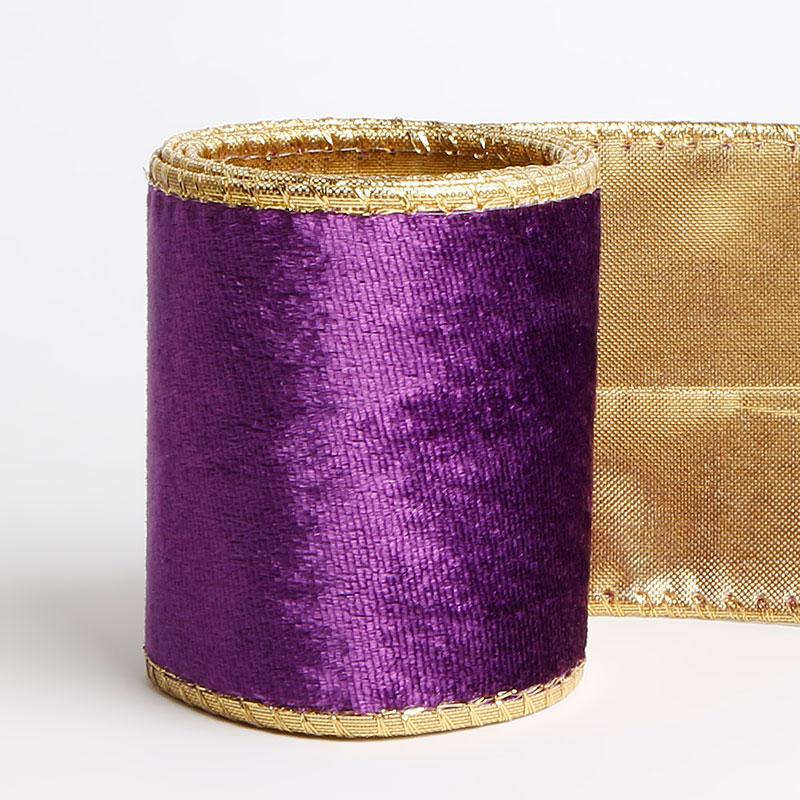 2.5 Inch Velvet Wire-Edged Craft Ribbons Purple Velvet Ribbon