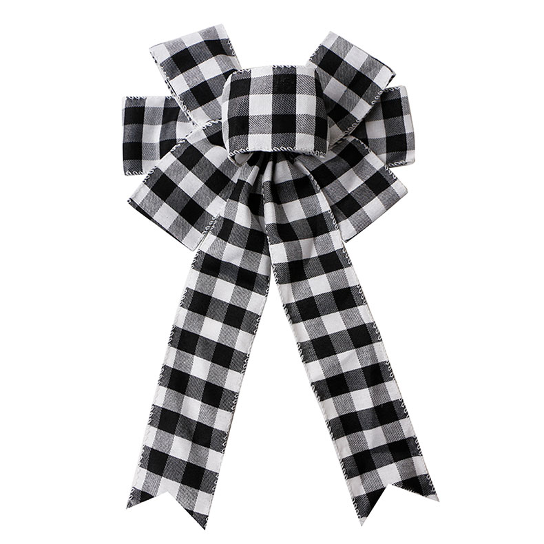 White and Black Plaid Burlap Ribbon Bow Handmade Ribbon Bows