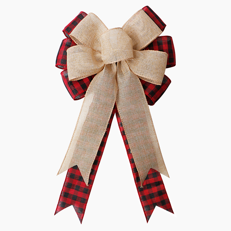Handmade Burlap Ribbon Bow Decorative Bows for Christmas Gift