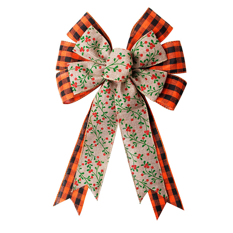 Custom Burlap Ribbon Bow Pre Made Ribbon Bow for Christmas Tree Decoration