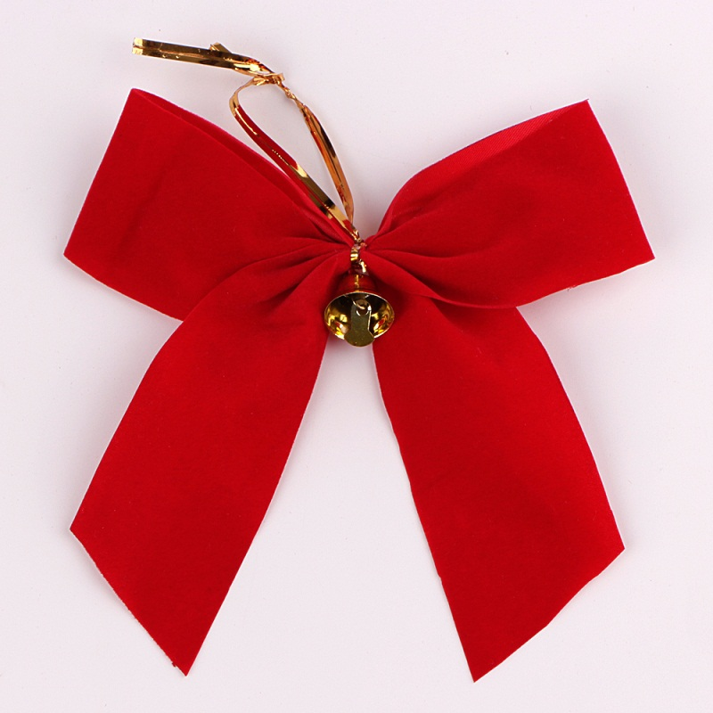 China Red Velvet Ribbon Bow DIY Ribbon Bow for Christmas Tree