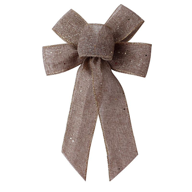 Pre Tied Burlap Ribbon Bow for Sale Glitter Ribbon Bow for Holiday