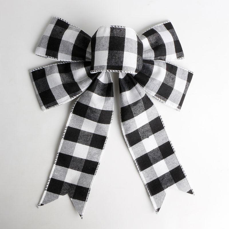 Handmade Craft Ribbon Bow Pre Made Plaid Burlap Ribbon Bow for Wedding