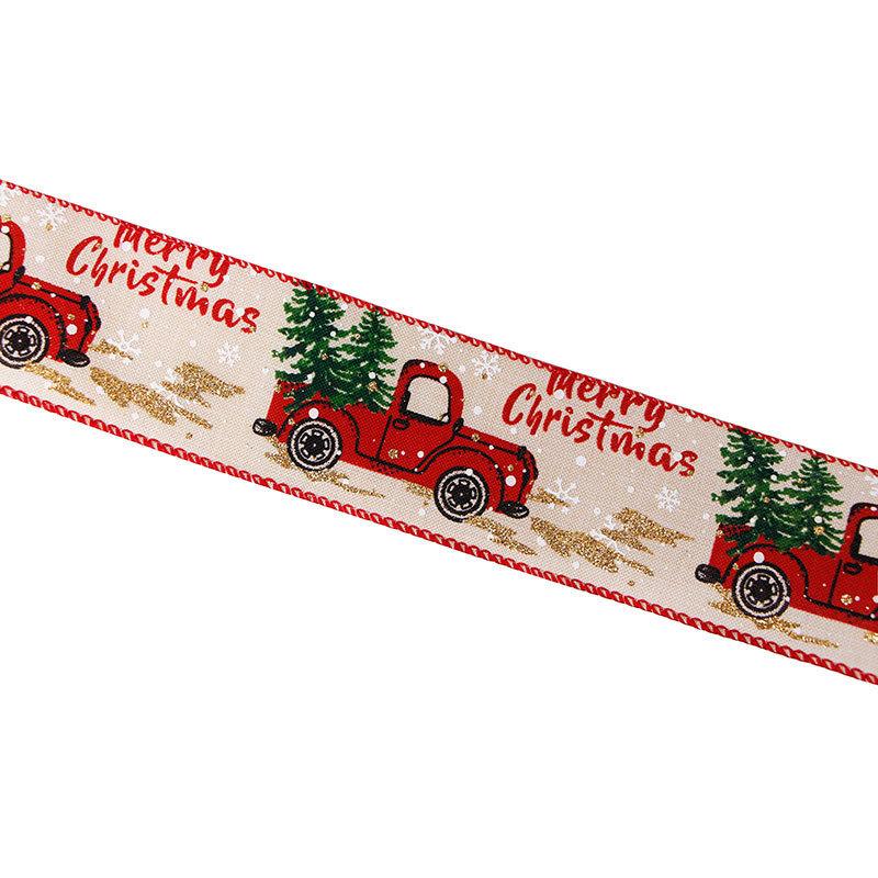 Christmas tree printed ribbon