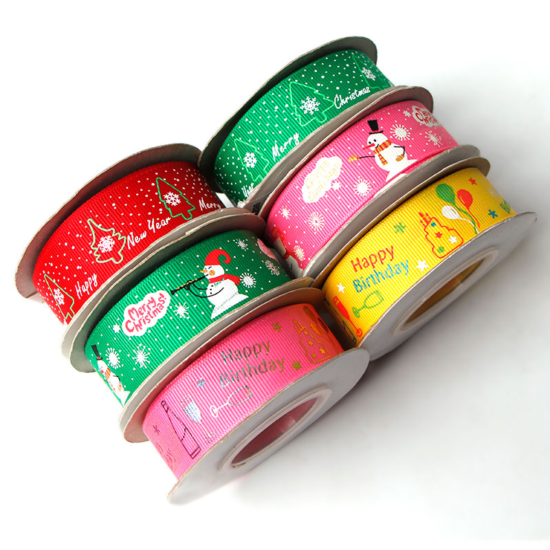 Custom Grosgrain Gift Ribbon Christmas Tree Ribbon For Packing