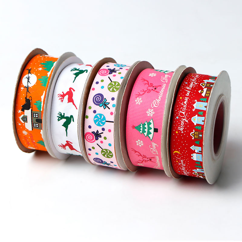 Merry Christmas Printing Grosgrain Ribbon Christmas Ribbons for Holiday Decorations