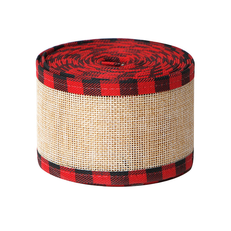 Christmas Buffalo Plaid Wired Edge Ribbons Burlap Fabric Craft Ribbon Natural Wrapping Ribbon