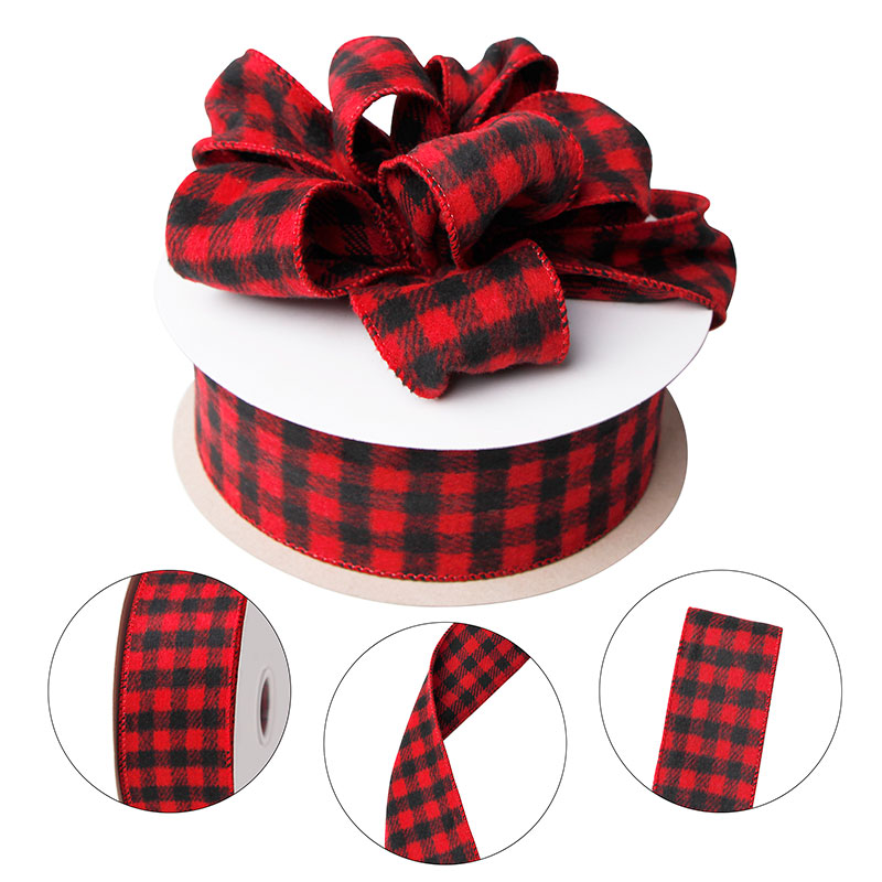 Red and Black Wired Flannel Buffalo Plaid Ribbon for Rustic Vintage Christmas Tree