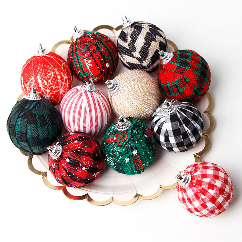 Buffalo Plaid Fabric Ball Ornament Decorative Christmas Ball Ornaments Christmas Hanging Ornament