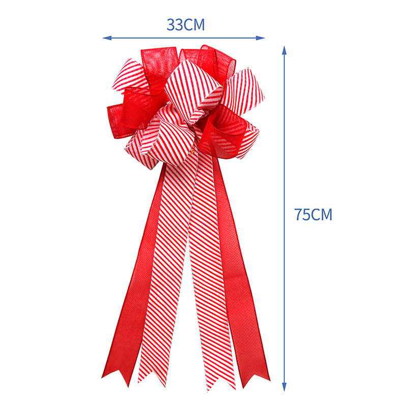 Red Wired Christmas Bow Holiday Decorative Burlap Ribbon Bows Wedding Ribbon Bow