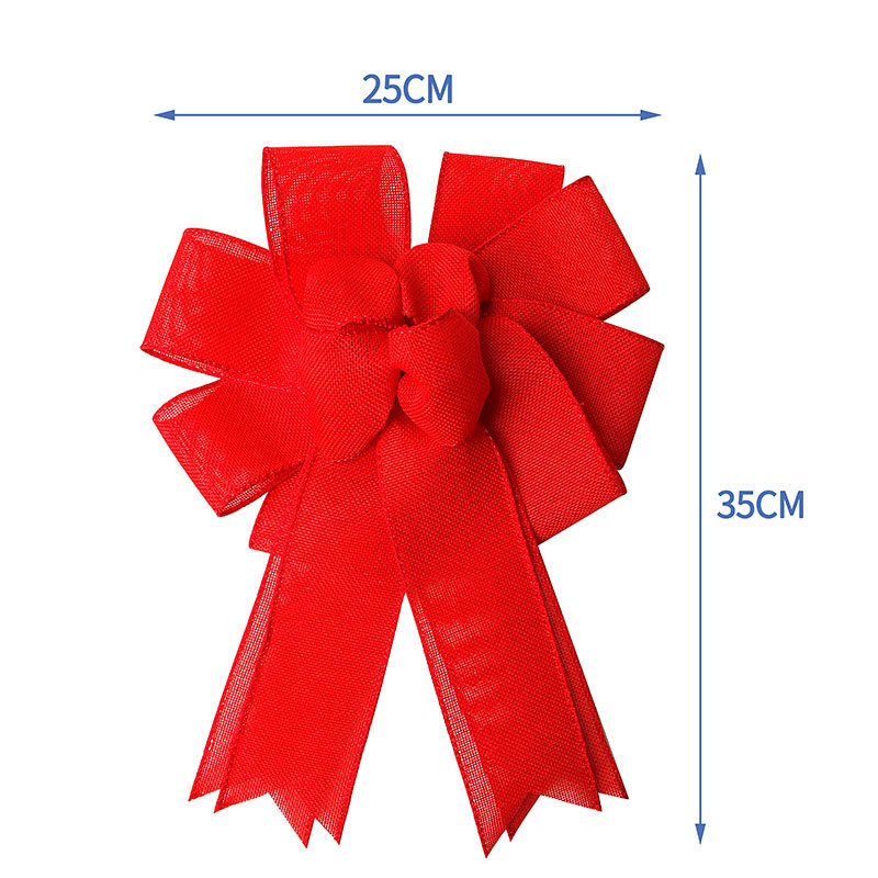 red burlap ribbon bow