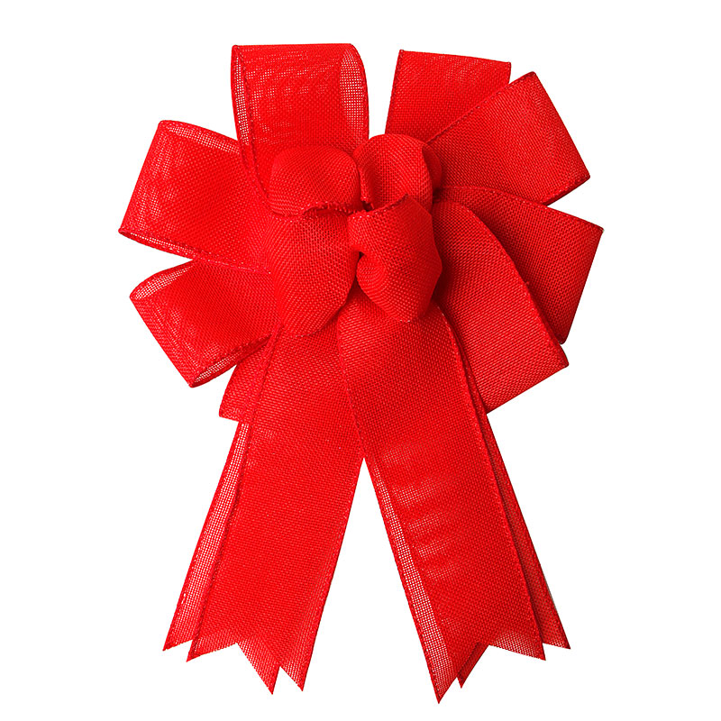 Red Burlap Ribbon Bow Large Bows for Christmas Wedding Holiday Decoration