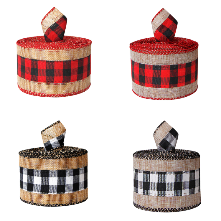 Christmas Wired Edge Ribbon Buffalo Plaid Ribbons Burlap Fabric Craft Ribbon