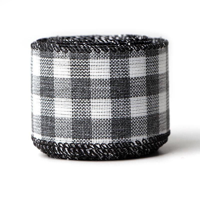 black and white plaid burlap ribbon