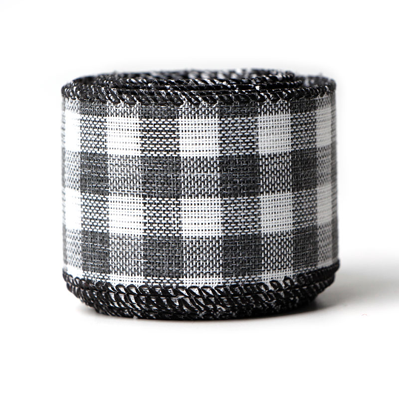 Gingham Ribbon Black and White Plaid Burlap Ribbon Christmas Wired Edge Ribbons