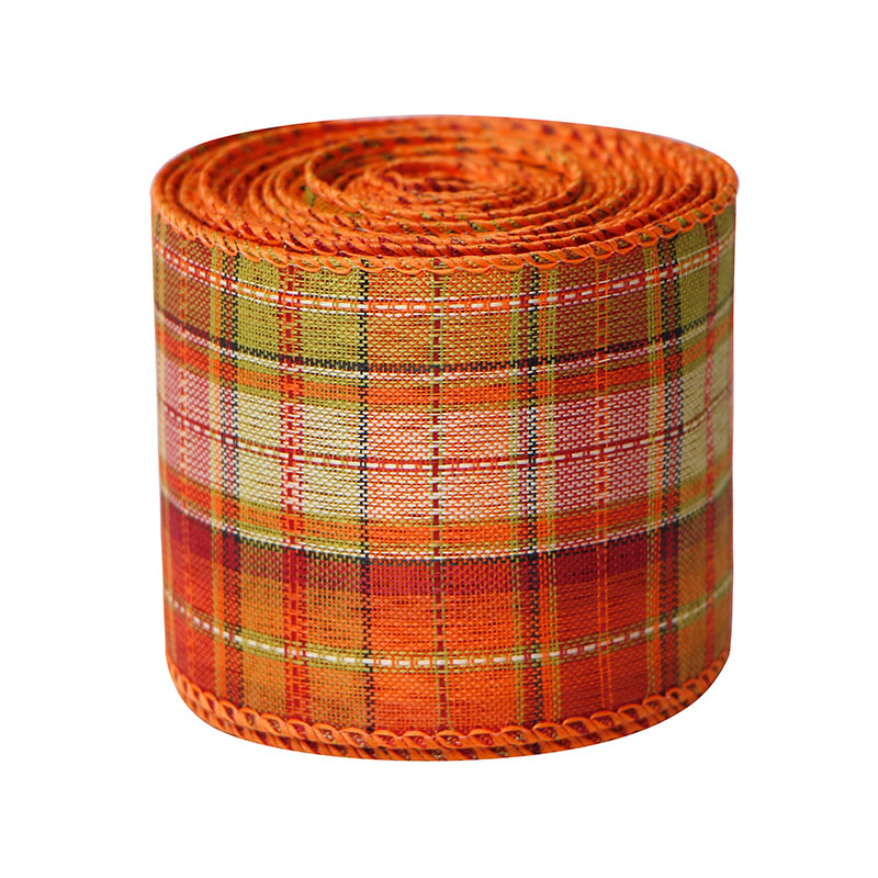 Plaid Ribbon Wired Edge Burlap Ribbon Christmas Halloween Wrapping Ribbon